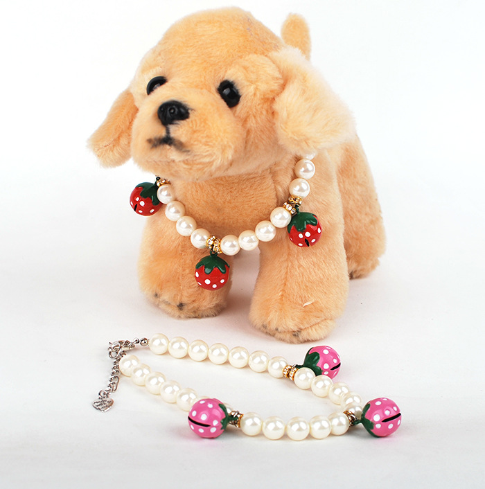 Hot sales Pet dog cat necklace High quality copper bell ornaments red pink bell white imitation pearl(China (Mainland))