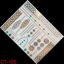 Temporary tattoo gold tattoo Luxury bracelet henna sex products bracelet tatoo metal women flash metalic gold silver tattoos
