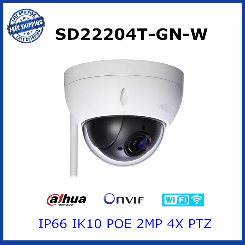 Dahua SD22204T-GN-W WIFI VERSION SD22204T-GN 2Mp Network Mini PTZ Speed Dome 4x Outdoor Camera English Firmware Free shipping(China (Mainland))