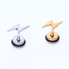 Buy 2pcs Fashion High Lighting Stainless Steel Studs Mens boy girl punk fulmination Gold rock Earrings Cosplay Stud Earring for $1.43 in AliExpress store