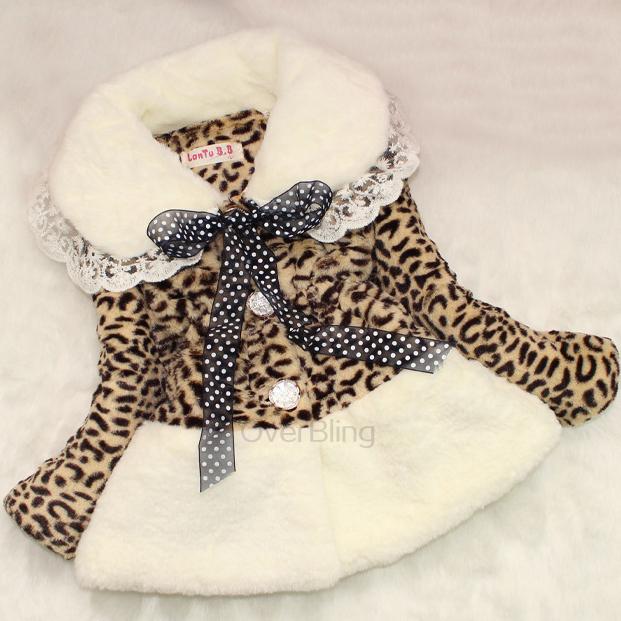 2014 New Girls Fashion Leopard Print Coat Children Cotton Clothes Warm Long Sleeve Turn-down Collar Coats Baby Dress Jacket(China (Mainland))