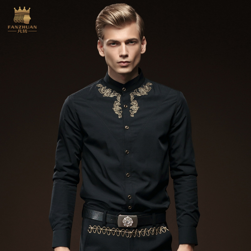 Free Shipping New fashion casual male long sleeved Mens Shirt with winter velvet Embroidery Shirt 2079 thickening On Sale(China (Mainland))