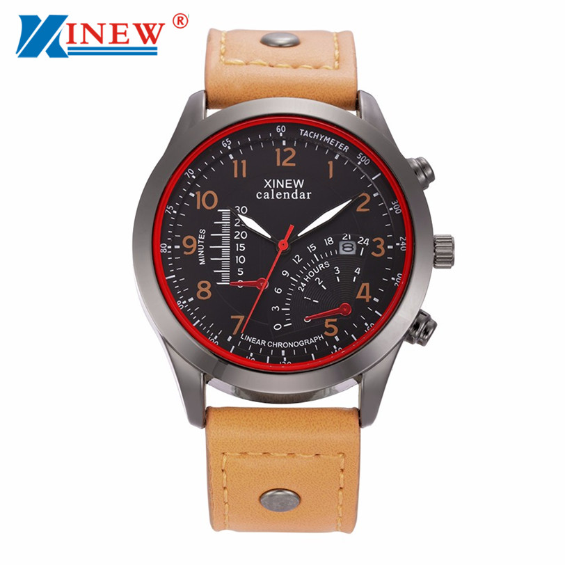 Best seller Free Shipping XINEW Men's Leather Stainless Steel Sport Analog Waterproof Wrist Watch relogio masculino Jun20(China (Mainland))