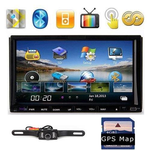 "REAR CAMERA+TV+IPOD+USB/SD+GPS Map 7"" In-Dash 2 Din Car Audio Stereo GPS Navigation Car DVD CD Player BT+FM/AM/RDS Head Unit(China (Mainland))"