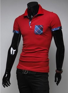 14 years of the new South Korean market at the color patch pocket hit color short-sleeved T-shirt Slim wild compassionate(China (Mainland))
