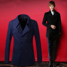 Solid Color winter Pea Coat Turndown Collar Double-Breasted Design Long Sleeves Woolen Trench Coat For Men(China (Mainland))