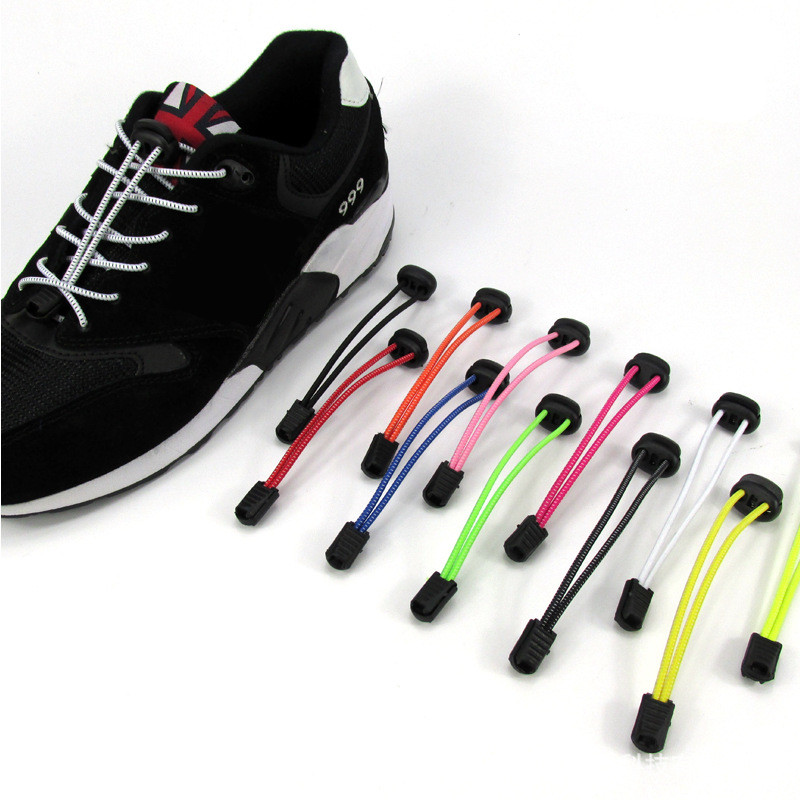 5 Pairs/lot (10 pieces) *** different colour leave order note ***Elastic Shoe Laces Locking Shoelaces sports Elastic Shoelace(China (Mainland))