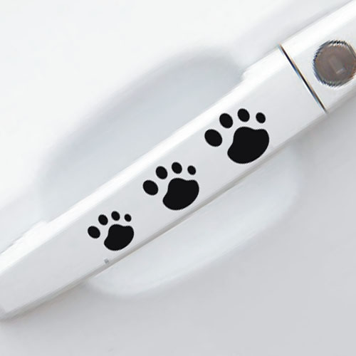 Footprint handles to car door sticker personalized bumper stickers, hand in hand dog footprints car stickers(China (Mainland))