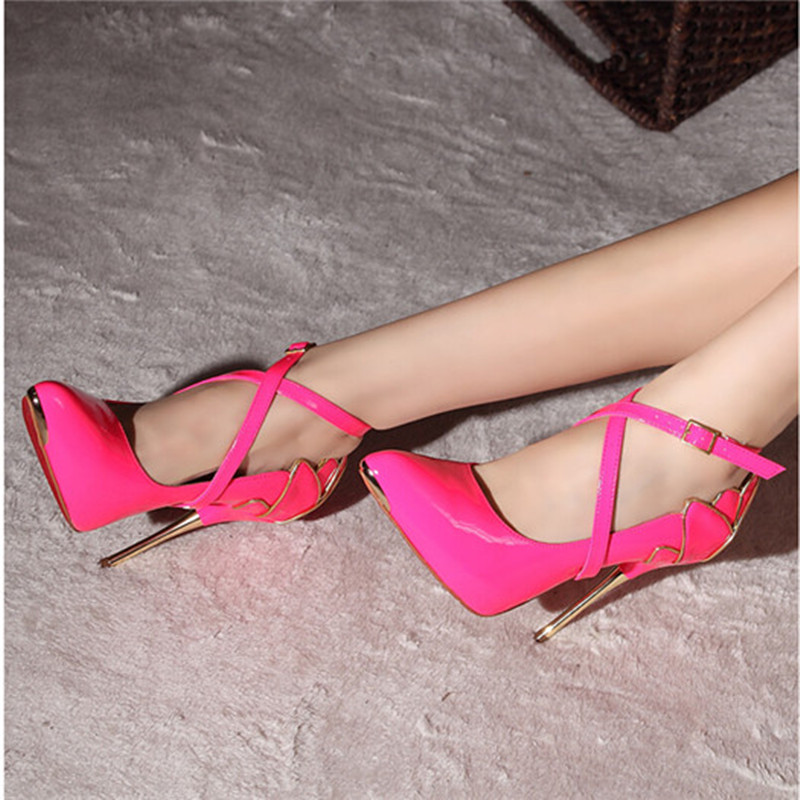 Wedding Fetish High Highe Heels Women Shoes Heel Genuine Leather Buckle Strap Yellow Office Lady Fashion Multi Colored