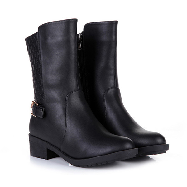 Womens Wide Leather Motorcycle Boots 78