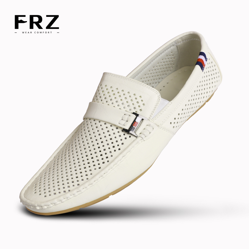 2016 FRZ Mens Loafers Flats Action Leather Men Shoes Slip-on Charm Breathable Buckle Lace Loop Spring Driving White CE86802WH(China (Mainland))