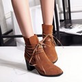 Autumn Winter Martin Boots Cross strap New Fashion High Heels Best British Casual Shoes Women 2016