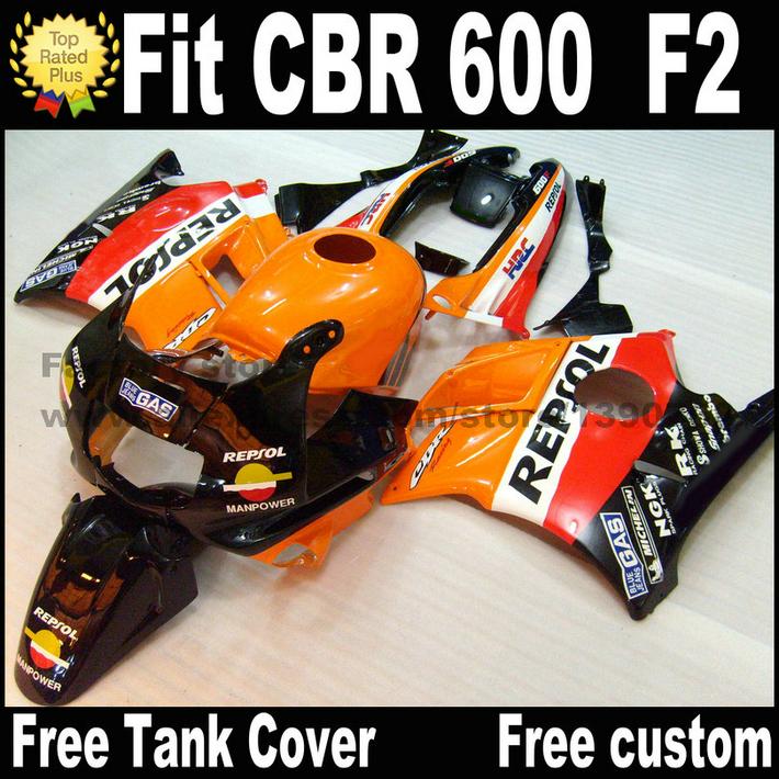 Plastic fairing kit for HONDA 91 92 93 94 CBR 600 F2 orange black REPSOL CBR600 1991 1992 1993 1994 fairings CV25(China (Mainland))