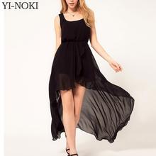YI-NOKI Chiffon Women Dress Sexy Irregular Dresses Plus Size Fashion Black Dovetail Mixi Dress Round Neck Vest Beach Long Dress(China (Mainland))