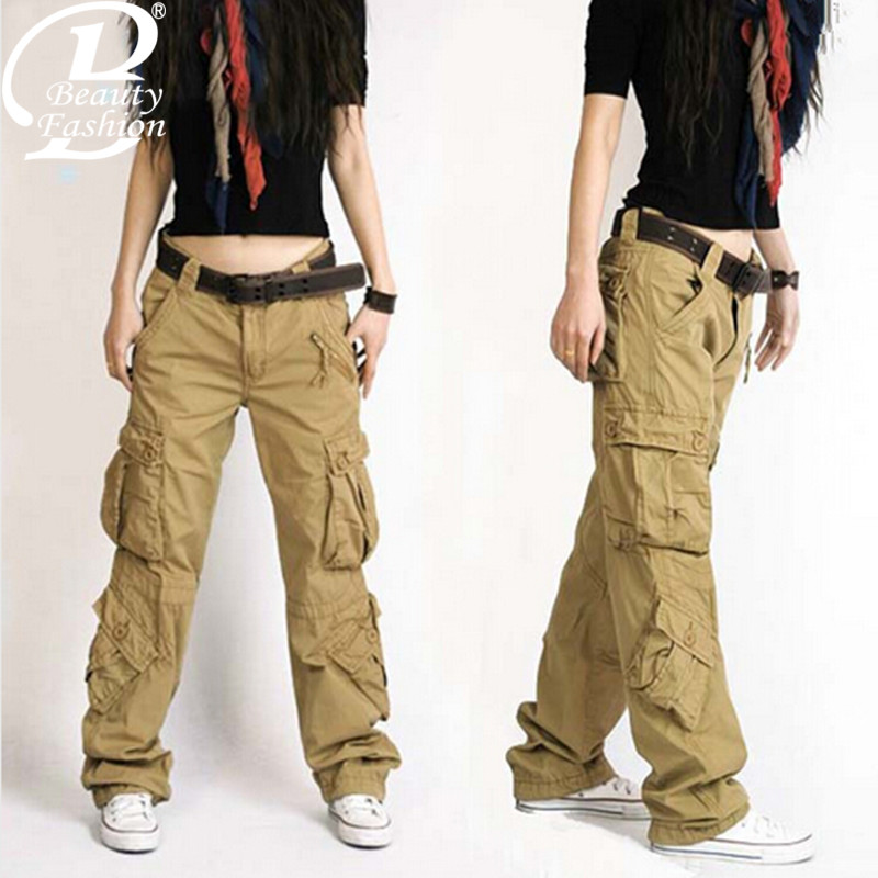 Cool Khaki Cargo Pants Women Hotselling 2013 Summer Casual Pants Female