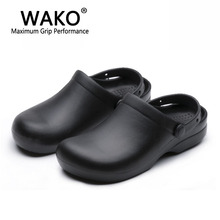 2016 Wako shoes chef cook work shoes non-slip shoes man shoes sandals kitchen cookhouse clogs black size 39-44 gfe9011(China (Mainland))