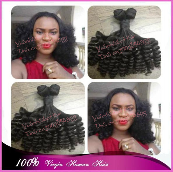 Best 7A quality 3pcs/lot #1b virgin peruvian 100% aunty funmi human hair weave tip bouncy curls for black women free shipping<br><br>Aliexpress