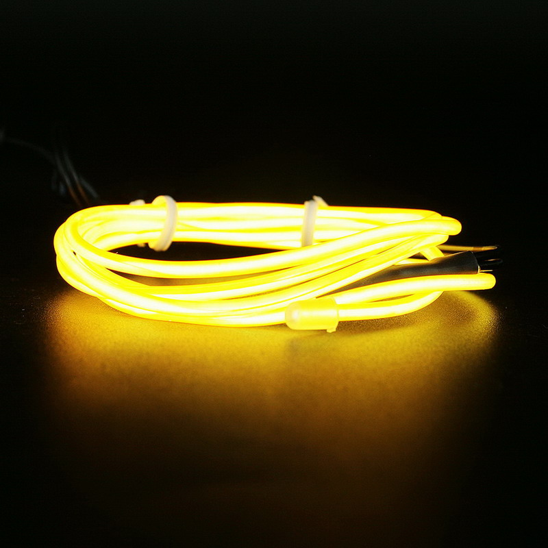 2016 Newest 2M Flexible Neon Light Glow EL Wire Rope Cable Strip LED Neon Light Shoes Clothing Car waterproof led strip-Yellow(China (Mainland))