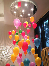 Free shipping 2014 hot selling new modern creative colored balloons glass ceiling lamps for children's room wedding  festival(China (Mainland))
