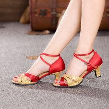 Buy RED Women's Latin Salsa Tango Ballroom Dance Shoes Indoor Dancing Heels Satin Shoes Ladies 3.5 cm, 5.5 cm, 7 cm Heeled Shoes for $18.92 in AliExpress store