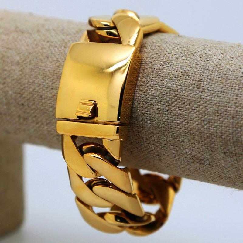 Hiphop punk golden bracelets High Quality 24K Gold plated 21cm long cuban Link chunky bangles pulseras