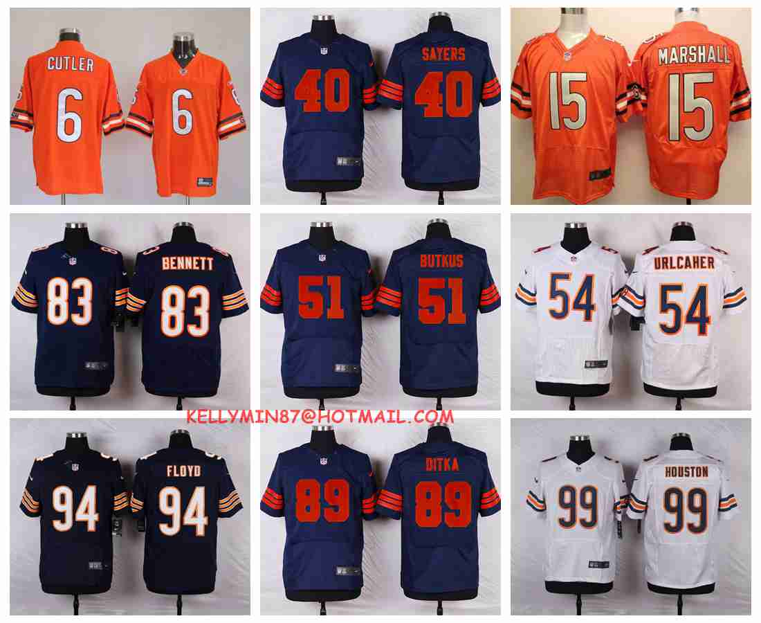 100% Stitiched,chicago bears Jay Cutler Brandon Marshall Gale Sayers Dick Butkus Brian Urlacher Mike Ditka Leonard Floyd Da(China (Mainland))