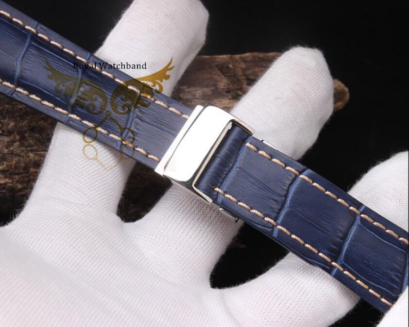 Нью-буле часы полоса 22 мм 24 мм крокодил картина из натуральной кожи ремешок полированный развертывания застежка пряжка