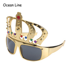 Beautiful Crown with Jewel Hen Party Costume Glasses Electroplating Sunglasses for Birthday Gift Party Supplies Decoration(China (Mainland))