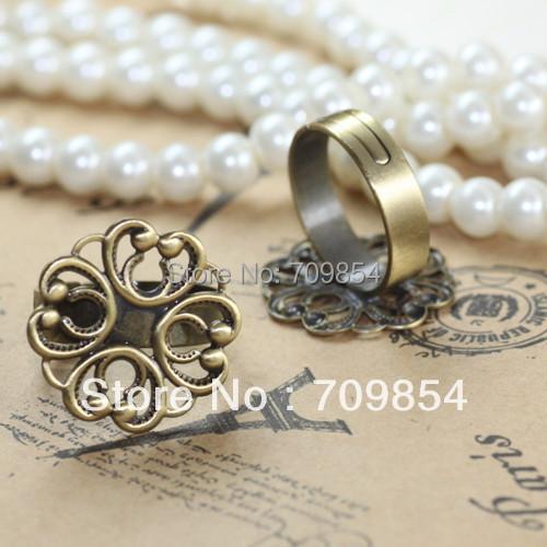 free shipping!!! 100pcs/lot 20mm antique bronze filigree flower ring setting(China (Mainland))