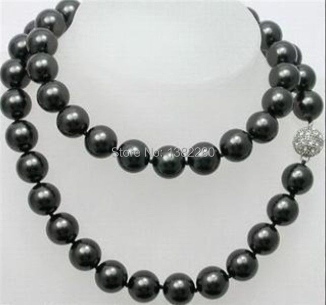 "Free shipping! Beautiful 10mm Black Sea Shell Pearl Long Necklace 35"" JT5033(China (Mainland))"
