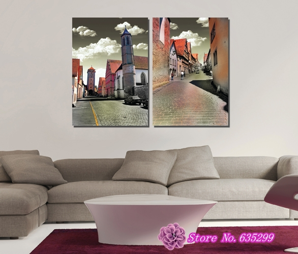 2 pieces canvas wall art picture painting decoration home canvas Prints Clean and neat leisurely typical European town(China (Mainland))