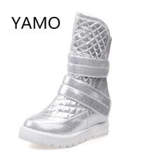 Mujeres botas de primavera 2016 botas de invierno de plataforma plana femenina gruesa suela de plataforma botas de nieve botas de las mujeres del oro negro(China (Mainland))