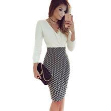 Women Elegant Office Dress Long Sleeve V neck font b Plaid b font Print Patchwork Bodycon