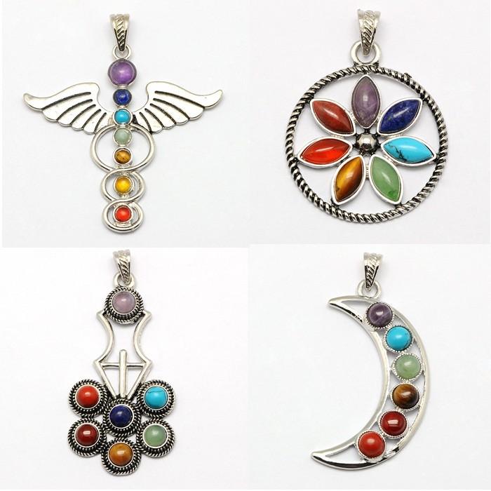 Nutural stone Chakra jewelry zinc alloy bezel stone big pendants moon crescent/Flower/ Medicine/women pendant jewelry Free ship(China (Mainland))
