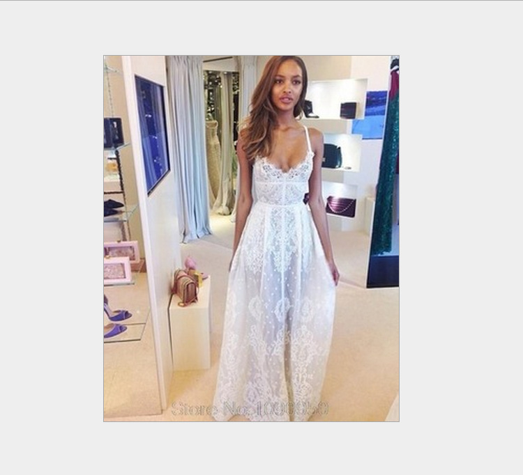 2015 Summer New Women V-Neck Strap Maxi White Lace Dress Ladies Sexy Long Sundress (China (Mainland))