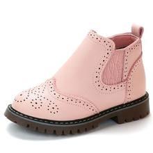 אביב סתיו 2019 ילדים נעלי בנות ורוד קצר מגפי ילדי מרטין מגפי בעבודת יד עור מגפי פעוט נעלי ילדים סניקרס(China)