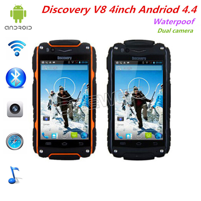 Original Discovery V8 Android 4.4 MTK6572 Dual Core 3G GPS Smartphone Waterproof phone WIFI Dual Camera Mobile phone(China (Mainland))