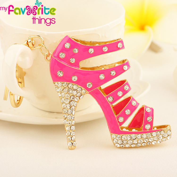 Cute High Heel Shoe Rhinestone Key Chain Ring Fashion Crystal Metal Keychain Women Gift Bag Purse Charm Pendant Jewelry - My Favorite Things store