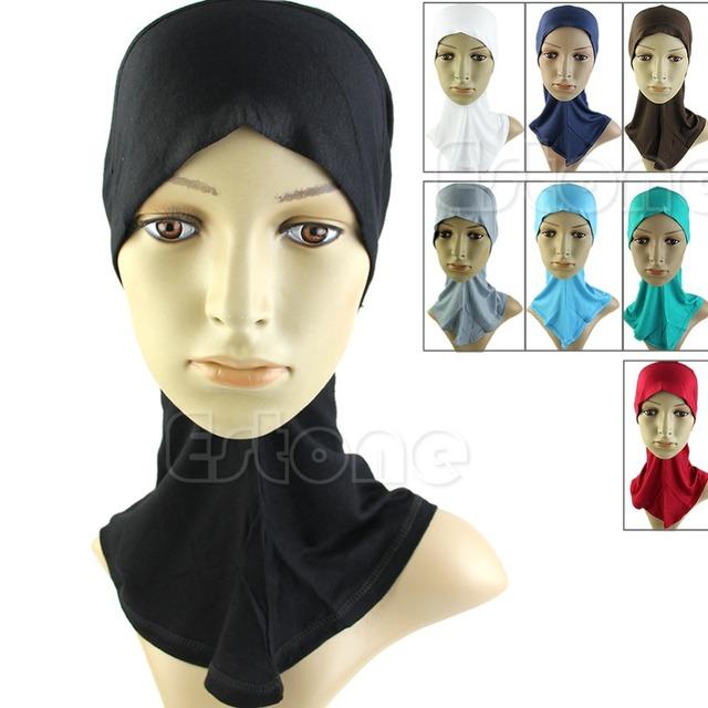 Бесплатная Доставка Исламский Хиджаб Под Шарф Cap Кость Бонне Головной Убор Группа ...