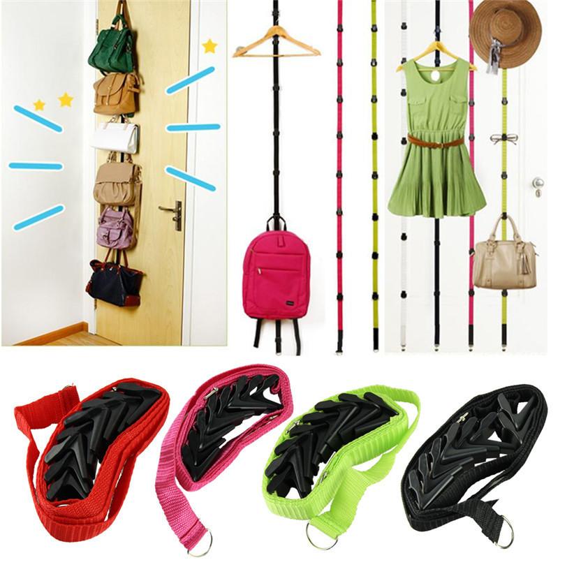Best seller Straps Hanger Adjustable Over Door Hat Bag Clothes Rack Holder Organizer 8 Hooks ww(China (Mainland))