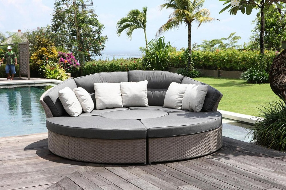 2016 wholesale pe rattan outdoor patio portable round platform sofa bed(China (Mainland))
