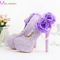 2016 Romantic Purple Super High Heel Wedding Shoes Beautiful Lace Handmade Bridal Dress Shoes with Appliques