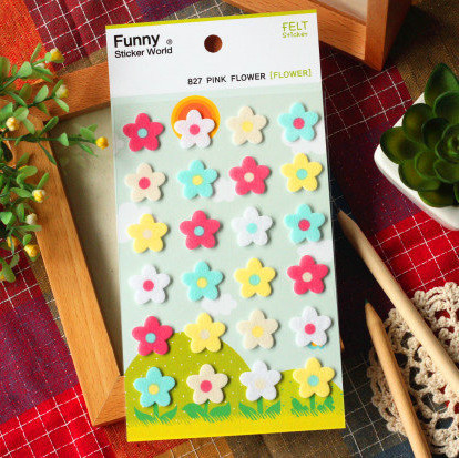 Stereoscopic Felt Pink flowers Stickers Diary Planner Journal Note Diary Paper Scrapbooking Albums PhotoTag Funny 827<br><br>Aliexpress