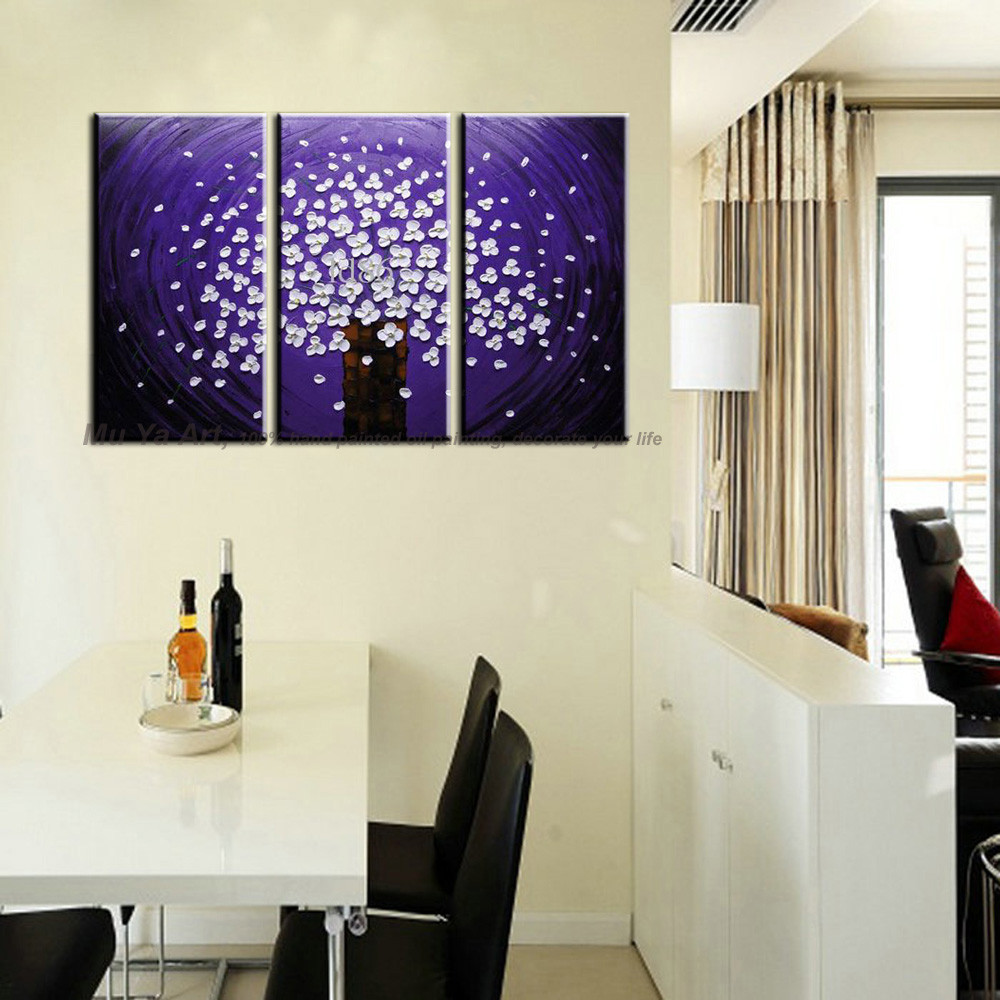Buy Hand painted Abstract modern 3 piece canvas wall art purple blue Knife oil painting on canvas for living room picture decoration cheap