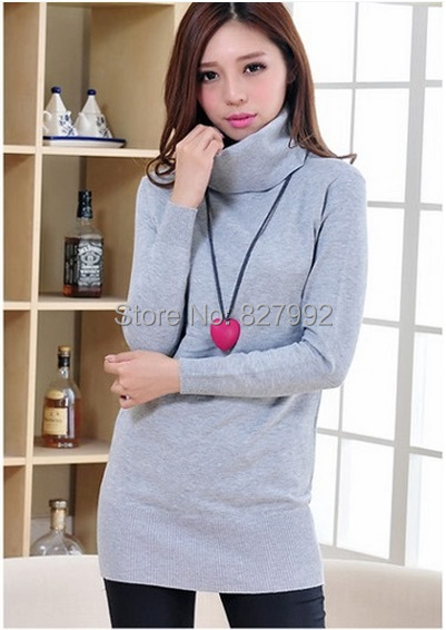 Women Autumn Winter Fashion Candy Color Knitting Sweaters Turtleneck Long Basic Pullovers Sweater - Dress Box store