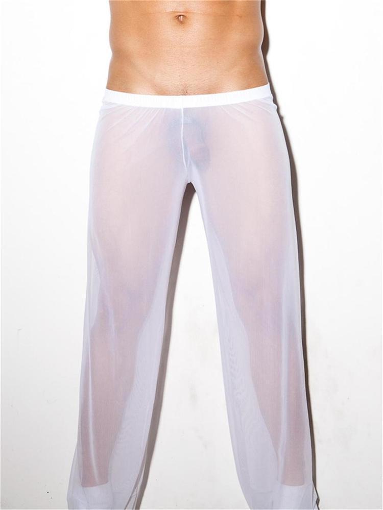 New Cool Sexy Mens Mesh Pants See Through Breathable Sweatpants 4 Colors Long Sleeping Pants Gay Penis Loose Bottoms Pajamas(China (Mainland))
