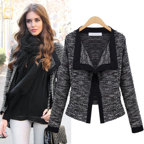 2016 New Amazing Quality Autumn Fashion V-neck Open Stitch Knit Cotton Women Jacket Lady Sheath Short Coat Bodycon Clothes H838