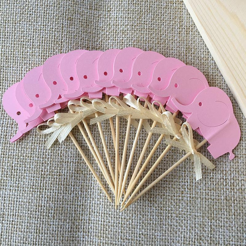 Birthday decorations double sided pink elephants cupcake for Baby shower cupcake picks decoration