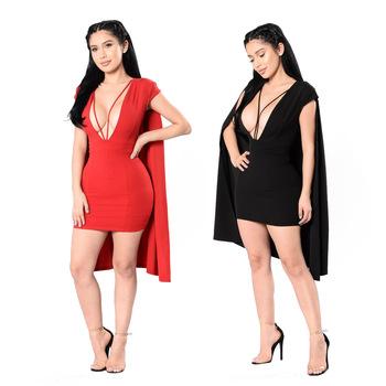 Red Dress With Black Lace Club Wear Mini Dresses Cloak Sleeve Woman Dress Party Elegant Summer Vestido Minie Sexy Hawaiian Dress