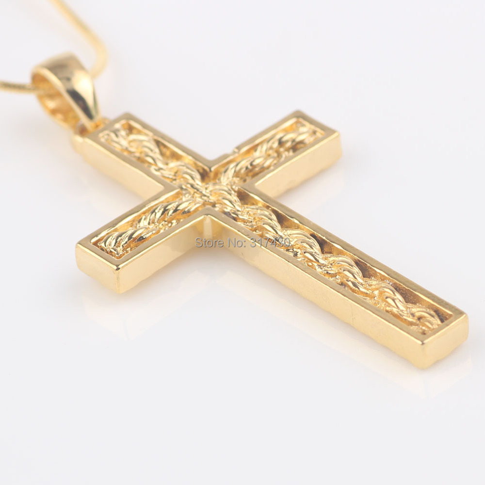 womens mens 24k solid yellow gold filled cross pendant
